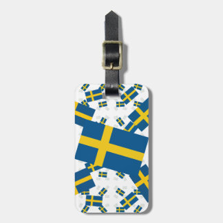 Sweden Flag in Multiple Layers Askew Tags For Bags