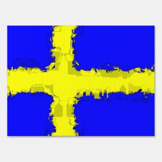 SWEDEN FLAG LAWN SIGN