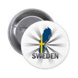 Sweden Flag Map 2.0 2 Inch Round Button