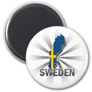Sweden Flag Map 2.0 2 Inch Round Magnet