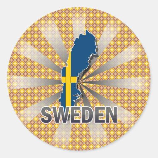 Sweden Flag Map 2.0 Classic Round Sticker