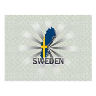 Sweden Flag Map 2.0 Post Card