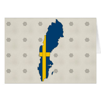 Sweden Flag Map full size Greeting Cards