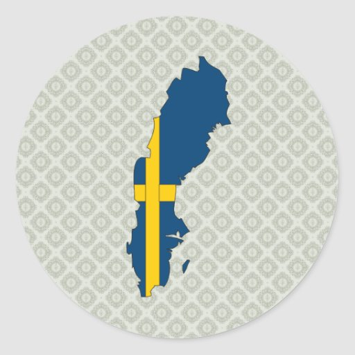 Sweden Flag Map full size Classic Round Sticker