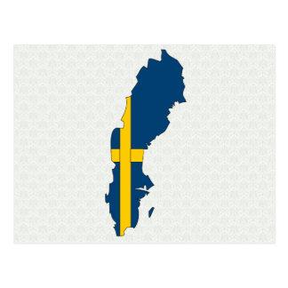 Sweden Flag Map full size Postcard