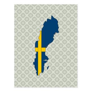 Sweden Flag Map full size Post Cards