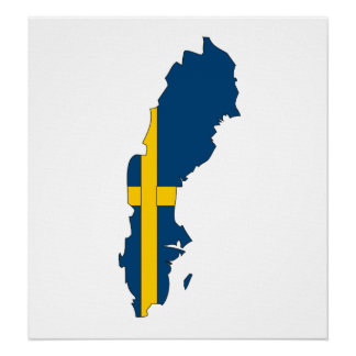 Map Of Sweden Posters Zazzle - Sweden map flag