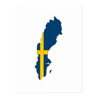 Sweden flag map postcard