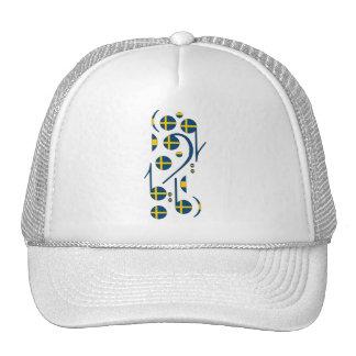 Sweden Flag Music Notes Trucker Hat