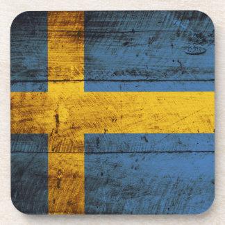Sweden Flag on Old Wood Grain Coaster