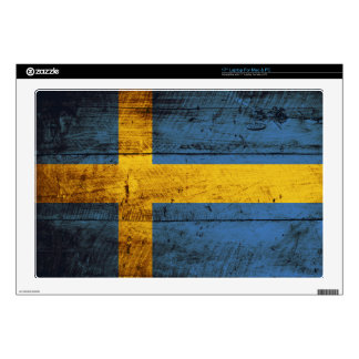 "Sweden Flag on Old Wood Grain Decal For 17"" Laptop"