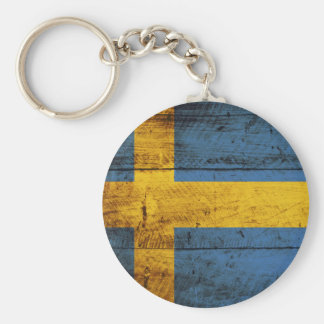 Sweden Flag on Old Wood Grain Keychain