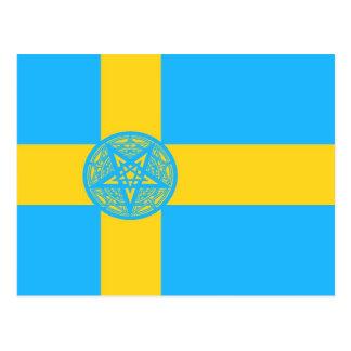 Sweden Flag Pentagram Postcard