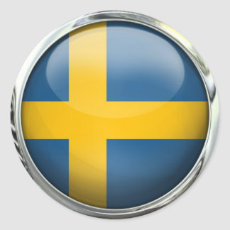 Sweden Flag Round Glass Ball Classic Round Sticker