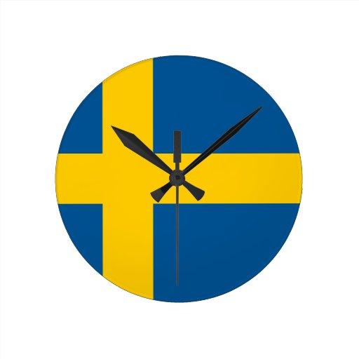 Sweden Flag Round Wallclocks