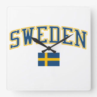 Sweden + Flag Square Wall Clock