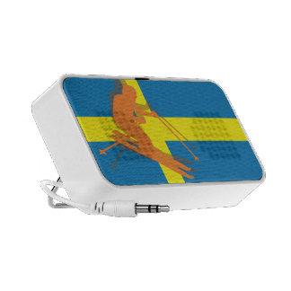 Sweden Flag Winter Sports Skier Skiing Notebook Speakers