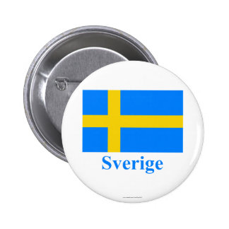 Sweden Flag with Name in Swedish Button