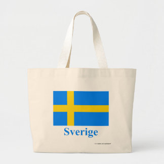 Sweden Flag with Name in Swedish Large Tote Bag