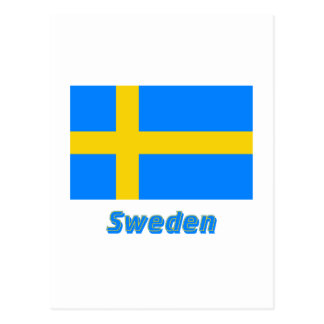 Sweden Flag with Name Postcard