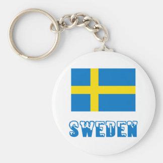 Sweden Flag & Word Keychain