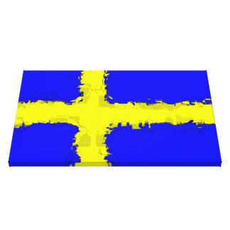 SWEDEN FLAG Wrapped Canvas Print
