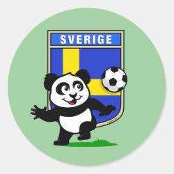 Round Sticker with Swedish Football Panda design