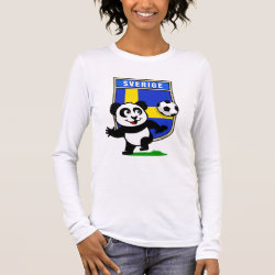 Women's Basic Long Sleeve T-Shirt with Swedish Football Panda design