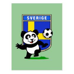 Postcard with Swedish Football Panda design