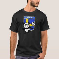 Men's Basic Dark T-Shirt with Swedish Football Panda design