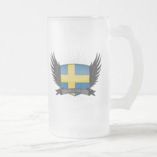 SWEDEN FROSTED GLASS BEER MUG