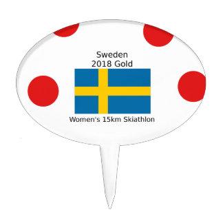 Sweden Gold 2018 - Women's 15km Skiathlon Cake Topper