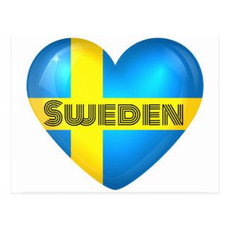 Sweden Heart Flag Postcard