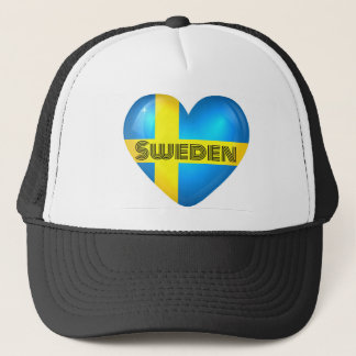 Sweden Heart Flag Trucker Hat