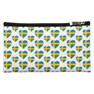 SWEDEN HEART SHAPE FLAG MAKEUP BAG
