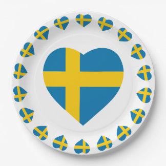 SWEDEN HEART SHAPE FLAG PAPER PLATE