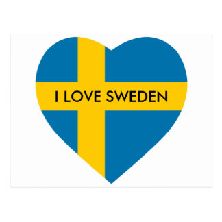 SWEDEN HEART SHAPED FLAG POSTCARD