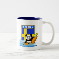 Two-Tone Mug with Sweden Kayaking Panda design