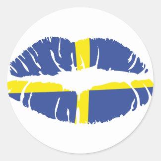 sweden kiss lipstick flag classic round sticker