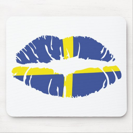 sweden kiss lipstick flag mouse pads