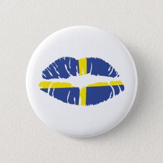 sweden kiss lipstick flag pinback button