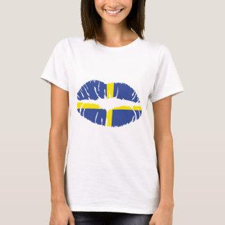 sweden kiss lipstick flag T-Shirt