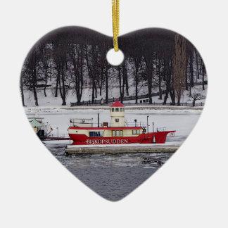Sweden Lightship Christmas Birthday Heart-shape Ceramic Ornament