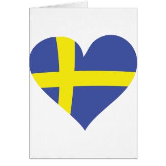 sweden love heart - swedish flag card