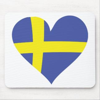 sweden love heart - swedish flag mouse pad