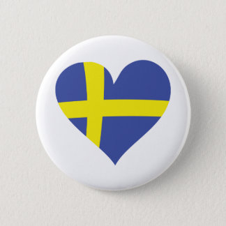 sweden love heart - swedish flag pinback button
