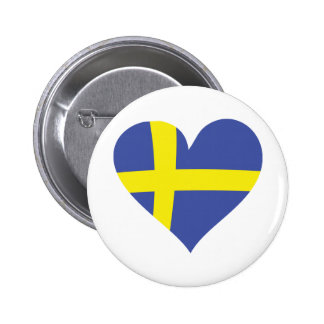 sweden love heart - swedish flag pinback button