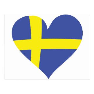 sweden love heart - swedish flag postcard