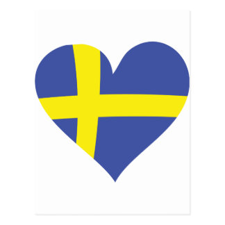 sweden love heart - swedish flag postcard