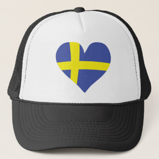 sweden love heart - swedish flag trucker hat
